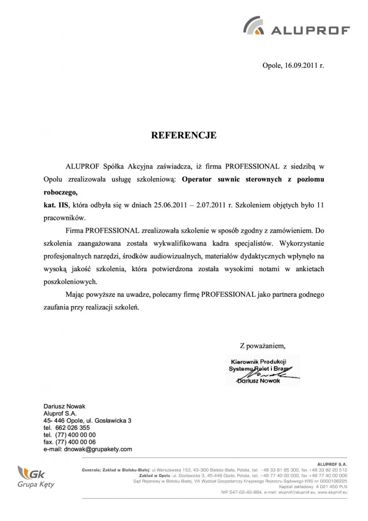 Aluprof suwnice 16.09.20111