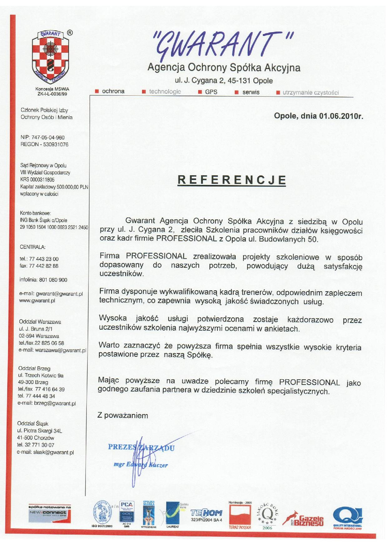 Referencje Gwarant Agencja Ochrony Professional Group Szkolenia